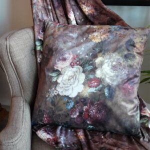 coussin velours floral blanc mariclo