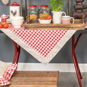 nappe à carreaux rouge clayre&eef motifs poules